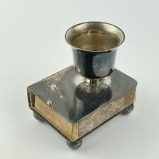 More details for antique silver plated novelty chamberstick form matchbox cover sleave 4.5cm
