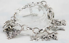 "Antiqued Silver Finished Steel Charm Bracelet with 9 Animals 7.5"" + 3"" Extension"