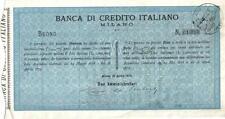 Otiginal Italy 1879 Bond Warrant Voucher Banca Credito Italiano Italian Bank