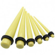 1 Pair Straight Yellow Acrylic Tapers Piercings Gauges Ear Plugs Stretchers 6g