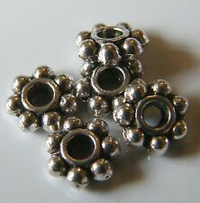 200pcs 6x2mm Metal Alloy Daisy Spacers - Antique Silver