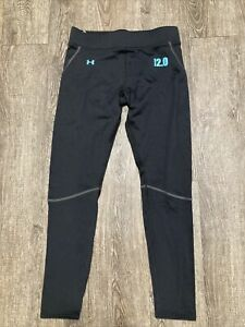 Under Armour Womens Base 2.0 Leggings Fitted Black Blue Size Medium