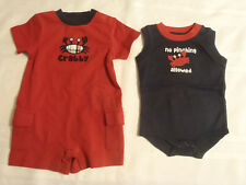 GYMBOREE Boys Size 0-3 Month Navy Crab Shack Bodysuit Outfit Red Romper NWT