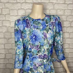 Vintage ST MICHAEL Blue Midi Tea Dress Size12 Floral 1970s Belted