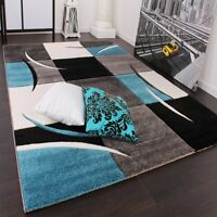 Blue and Grey Rug Geometric Pattern Living Room Bedroom Hall Floor Carpet Large