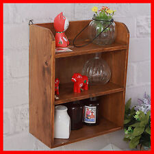 Oak Wall Shelf Display Unit Crate Wooden Retro Makeup Storage Spice Rack A63