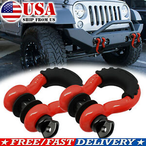 2X Trailer Bow Shackle Heavy Duty Tow Hook D Ring With antislip Isolator Washer