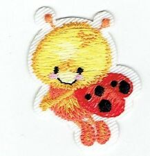 Iron On Embroidered Applique Patch - Children's Ladybug - Flying Left