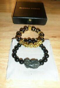 2 x Bracelets Buddha Power Black and Gold & 1 Black One....