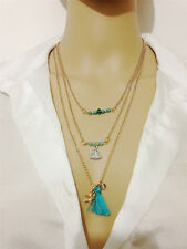 Women Gold Plated Alloy Tassel Star Pendant Long Chain Sweater Necklace