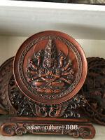 Chinese Boxwood Carving 000 Arms Avalokiteshvara GuanYin Buddha screen Statue