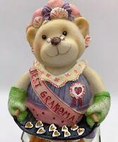 Best Grandma Bear Cookie Candy Jar Glass And Ceramic Vintage