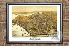 Vintage Beverly, MA Map 1886 - Historic Massachusetts Art - Victorian Industrial