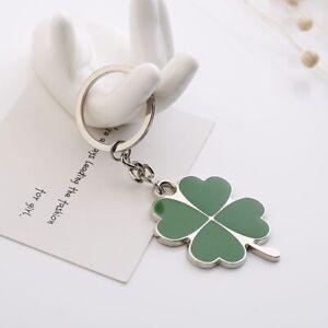 Cute Mini Metal Four Leaf Clover Key Ring Chain 3D Keyfob Keychain Keyring Gift