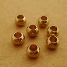 200pcs 4mm Yello Raw Brass Round Spacer Beads Solid Brass Hole Size 2mm Solid