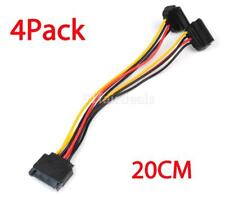 4pc SATA Power 15-pin Y-Splitter Cable Adapter Male to Female for HDD Hard Drive