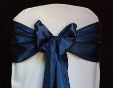 100 navy blue Satin Chair Cover Sash Bows Tie Wedding Party  Venue Decorations