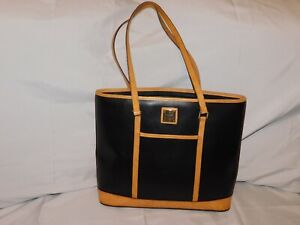 DOONEY & bOURKE BLACK AND BROWN LEATHER TOTE PURSE