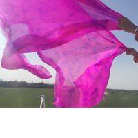 Colorful Soft Silk Half Circle Belly Dance Veil 98.42 x 44.88 inch Colorful