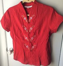Yue He Shi Lu Chinese Oriental Embroidered red top blouse