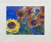 Sonnenblumen am Abend expessiv AJ 1961 Aquarell 52 x 62,5 cm