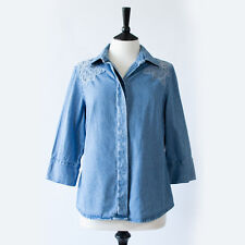 True Vintage 80's Women's Blue Denim Western Style Shirt Festival Medium UK 12