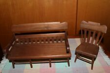 wooden doll house furniture made of walnut wood, dimensions Chair seat 3 1/4""