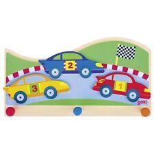 Kinder - Garderobe Garderobenhaken Rennwagen Rennstrecke Holz Kleiderhaken - NEU