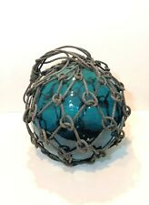 Japanese or European large Fishing net Float Blue signed with Anchor Mark