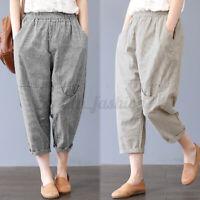 ZANZEA Femme Pantalons Taille elastique à rayures Décontracté lâche Ample Plus