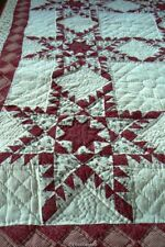 Quilt Country Star Handmade 100% Cotton Full Red Cranberry Calico Gingham