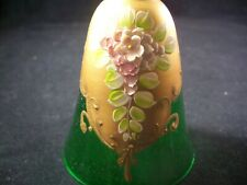 1 Floral Green Glass Bell With Gold Trimming