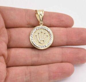 """1.5"""" Crown Diamond Cut Round Medallion Pendant Real 10K Yellow White Gold"""