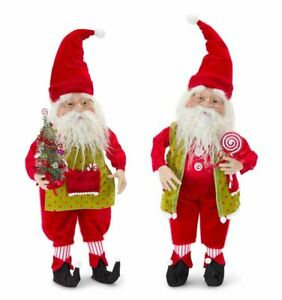 "Melrose Festive Red/Green Elf Figurines (Set of 2) 24""H Polyester/Resin"