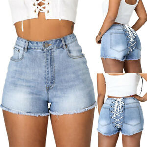 Women Distressed Hot Pants High Waist Strappy Denim Jeans Bandage Summer Casual