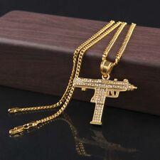 Men's Crystal Machine Gun Stainless Steel Pendant Chain Hip Hop Punk Necklace