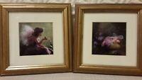 "Fairy Frog Kiss/Sleeping Fairy Print  Art Lisa Jane 7.5"" Square Framed Set of 2"