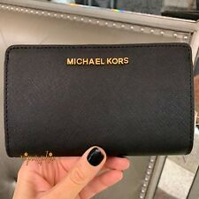 6fe635bcfe6e MICHAEL KORS JET SET TRAVEL SLIM BIFOLD LEATHER WALLET BLACK