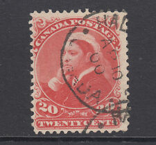 Canada Sc 46 used. 1893 20c vermilion Qv, partial Halifax cancel