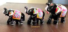 ELEPHANT INDIAN HAND PAINTED WOODEN ARTISAN SET OF 3 JODHPUR CRAFT DIWALI GIFT