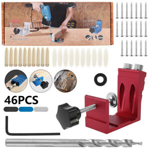 46x Pocket Hole Jig Kit Woodworking Drill Tool Wood Joint Screw Hole Locator UK