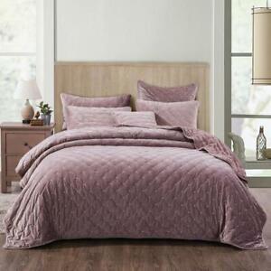 Tache Luxury Soft Plush Velvet Purple Mauve Diamond Tufted Coverlet Bedspread