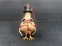 "Vintage Stouffer Bird Hanging Christmas Tree Ornament 4"" Top Hat Great Shape"