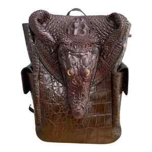 Real Crocodile alligator leather skin backpack Shoulder Bag Travel Bags for men