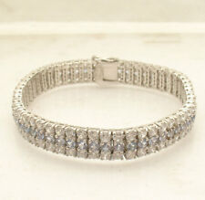 "7.50"" Three Row Clear and Blue CZ Tennis Bracelet Real Solid Sterling Silver"