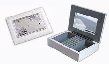 Ladies Womens White Wooden Jewellery Trinket Box Case Great Gift Idea