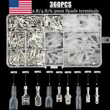 360X Assortment Male Female Spade Terminals Kit Electrical Wire Crimp Connectors