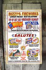 VINTAGE 1940'S BUZZY'S FIREWORKS 1940's FINE ART REPRINT FIRECRACKER POSTER