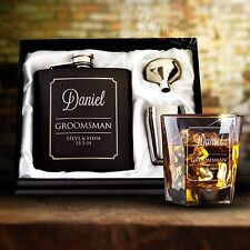 Engraved 6oz Black Wedding Hip Flask Gift Set Personalised Bomboniere Favor Gift