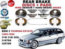 für BMW 3 E36 Kombi Touring Bremsscheiben SET HINTEN+BELÄGE SET +Sensor +Schuhe